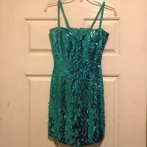 Dresses & Skirts - Turquoise sequin cocktail dress